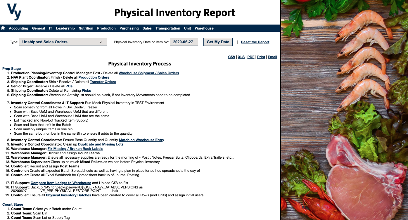Vy NAV Reports - Physical Inventory